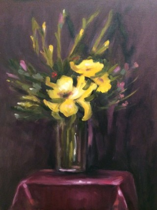 An Oil painting by Kathryn Morgana-Aprile in the Realist Impressionist style  depicting Flowers and Vases with main colour being Brown Grey and Purple and titled Yellow Liliums