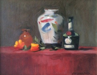 An Oil painting by Kathryn Morgana-Aprile in the Realist Impressionist style  depicting Still Life Bottles Flowers and Vases with main colour being Blue Grey and Red and titled Oriental vase on red cloth