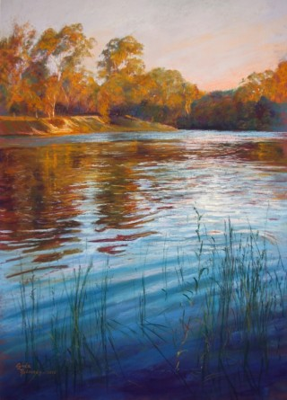 A Pastel artwork by Lynda Robinson in the Realist style  depicting River Rural and Trees and titled Evening Reflections - Goulburn River