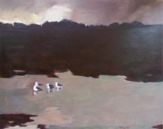 An Oil painting by Melissa Fraser in the Impressionist style  depicting Landscape Birds Hills and River with main colour being Brown Cream and Grey and titled Fading Light