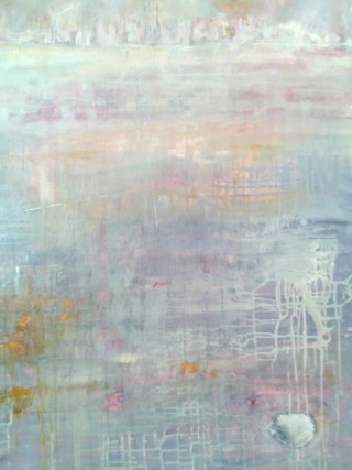 A Mixed Media artwork by Jeanette Adams in the Abstract Impressionist style  depicting Water Beach and Sea and titled Shell At Williamstown