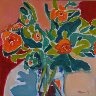 An Oil painting by Melissa Fraser depicting Flowers Interior and Vases with main colour being Green and Orange and titled Swirl