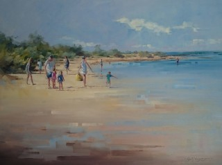 An Oil painting by Vivi Palegeorge in the Realist Impressionist style  depicting Beach Children and People with main colour being Blue Ochre and Olive and titled Summers Day at Ricketts Point