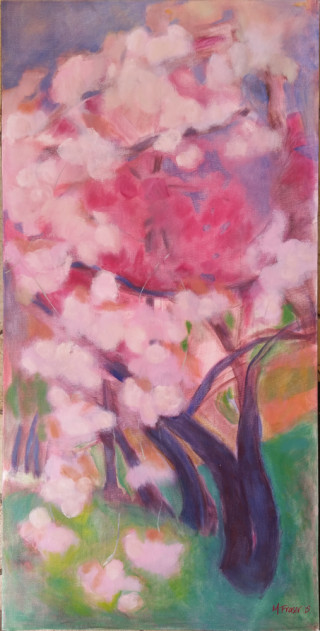 An Oil painting by Melissa Fraser depicting Landscape Flowers Garden and Oriental with main colour being Blue Pink and Purple and titled Hanagasumi