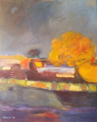 An Oil painting by Melissa Fraser depicting Landscape Farmland Rural and Trees and titled Sun Shower
