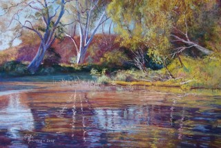 A Pastel artwork by Lynda Robinson in the Realist style  depicting Landscape Waves and titled 'Sugarloaf Creek at Ashes Bridge'
