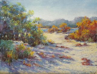 A Pastel artwork by Helen Miles in the Realist Impressionist style  depicting Beach Bush and Sea with main colour being Cream Green and Yellow and titled Beach Walk