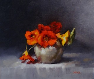 An Oil painting by Joan Denner in the Impressionist style  depicting Flowers and Vases with main colour being Black Grey and Red and titled Nasturtiums
