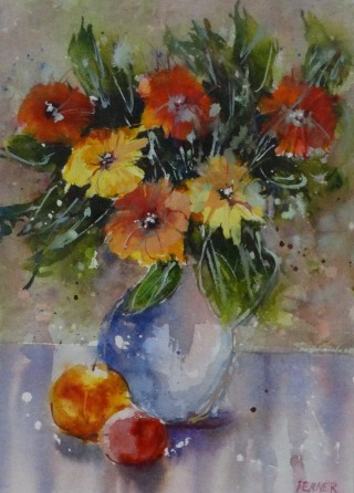A Watercolour artwork by Joan Denner in the Impressionist style  depicting Flowers and Vases with main colour being Blue Green and Grey and titled Mixed Bunch
