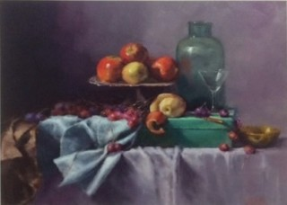 An Oil painting by Joan Denner in the Realist Impressionist style  depicting Still Life Bottles and Fruit with main colour being Blue Grey and Olive and titled Apples