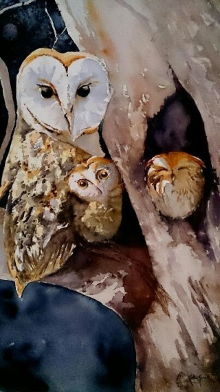 A Watercolour artwork by Kathy Karas in the Realist style  depicting Animals Birds with main colour being Brown Cream and Grey and titled See you at Midnight