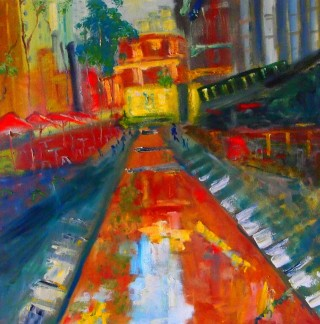 An Oil painting by Margaret Morgan-Watkins in the Impressionist style  depicting Landscape Buildings City and Streets with main colour being Blue Orange and Red and titled Melbourne City Square