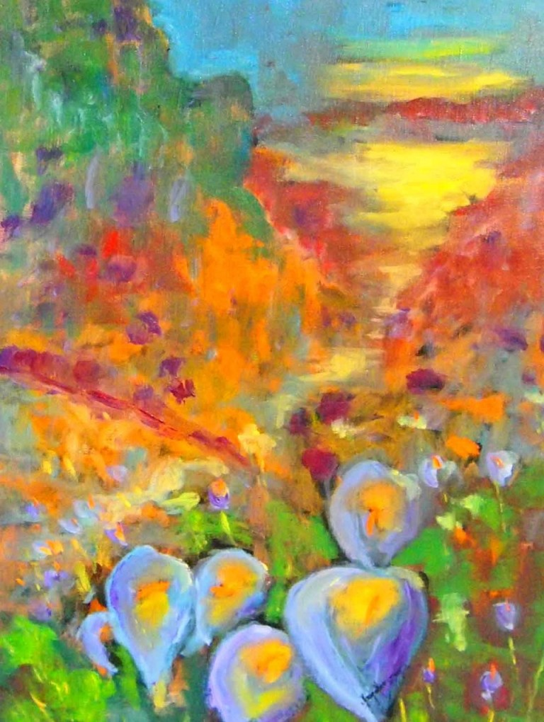 Oil Painting by Margaret Morgan-Watkins titled A Field of Lilies