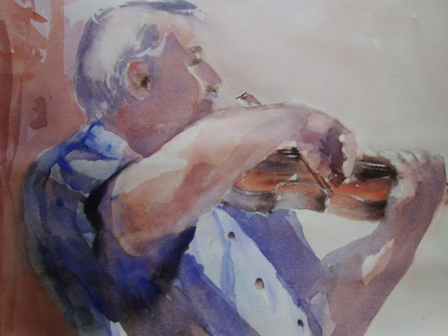 Watercolour Painting by Maureen Runge titled The Man with the Violin