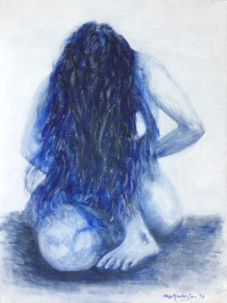 An Acrylic painting by ALEX MORTENSEN in the Realist style  depicting Nude Girl and People with main colour being Blue and White and titled SARAH-ANN 2016