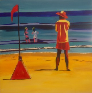 An Acrylic painting by Janette Humble in the Contemporary style  depicting Beach Girl and Man with main colour being Blue Green and Orange and titled bird watching