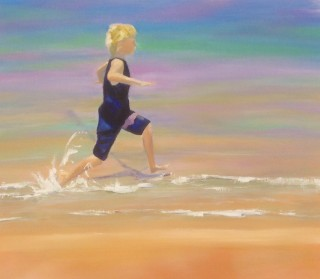 An Oil painting by Janette Humble in the Contemporary Realist style  depicting Beach Boy and Children with main colour being Blue Ochre and Purple and titled Summer Splash