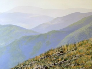 An Acrylic painting by Anne Gardner in the Contemporary Realist style  depicting Landscape Hills Mountains and Rural with main colour being Blue Green and Ochre and titled Snowys in summer