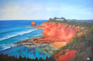 An Oil painting by Moyra Le Blanc Smith in the Realist Impressionist style  depicting Beach Buildings and Bush with main colour being Blue and Orange and titled Aireys Inlet Lighthouse