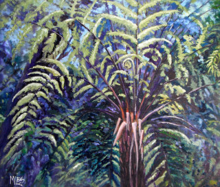 An Oil painting by Moyra Le Blanc Smith in the Realist Impressionist style  depicting Trees Bush with main colour being Green and titled Tree Fern on Linen