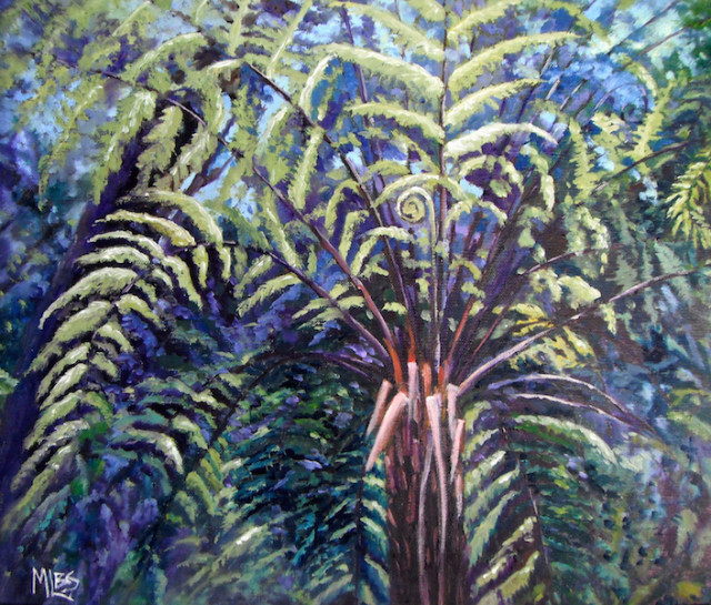 Oil Painting by Moyra Le Blanc Smith titled Tree Fern on Linen