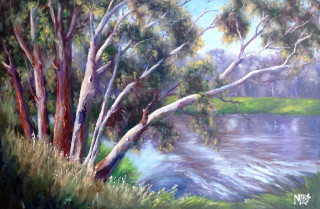An Oil  painting  by Australian artist Moyra Le Blanc Smith in the Realist Impressionist style  depicting Trees, River with main colour being Green and Purple and titled Barwon River Ripples