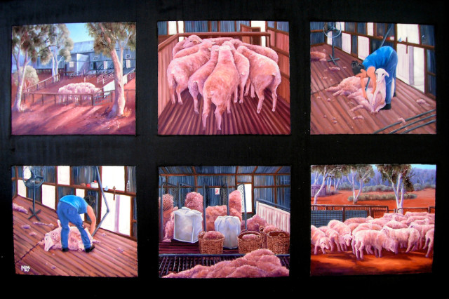 Oil Painting by Moyra Le Blanc Smith titled Shearing Scenes - Merna Mora