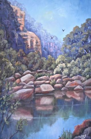 An Oil  painting  by Australian artist Moyra Le Blanc Smith in the Realist Impressionist style  depicting Bush, Rocks and Water with main colour being Blue, Green and Orange and titled Tranquil Gorge