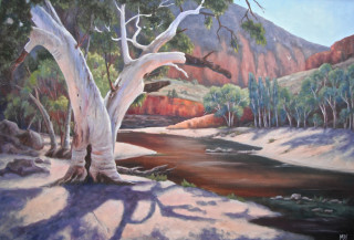 An Oil painting by Moyra Le Blanc Smith in the Realist Impressionist style  depicting Trees Bush and Rocks with main colour being Brown Cream and Orange and titled Ormiston Gorge