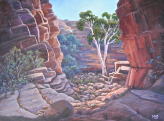 An Oil painting by Moyra Le Blanc Smith in the Realist Impressionist style  depicting Landscape Bush Rocks and Trees with main colour being Ochre Orange and Purple and titled John Hayes Rockhole