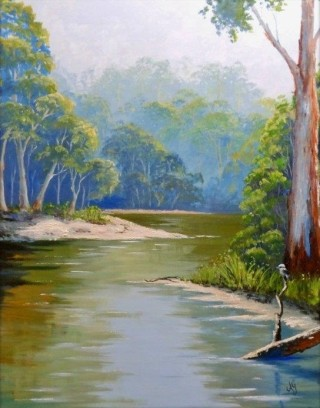 An Acrylic painting by Anne Gardner in the Realist style  depicting Landscape Bush Creek and River with main colour being Blue Green and Ochre and titled Bend in the River