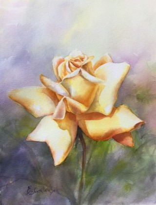 A Watercolour painting by EKATERINA MORTENSEN in the Realist style  depicting Flowers with main colour being Gold Green and Orange and titled GOLDEN CROWN ROSE