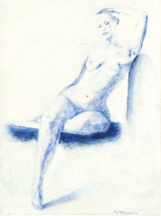 An Acrylic painting by ALEX MORTENSEN in the Realist style  depicting Nude Girl and Woman with main colour being Blue and White and titled JENNY