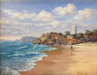 An Oil painting by Maureen Bainbridge in the Realist Impressionist style  depicting Beach Water and Waves with main colour being Blue Brown and Grey and titled Morning Walk – Miami