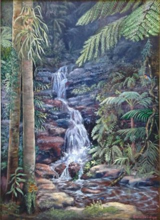 An Oil painting by Maureen Bainbridge in the Realist style  depicting Landscape Rocks Trees and Tropical with main colour being Grey and Olive and titled Dancing Waters – Springbrook