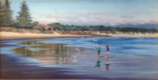 An Oil painting by Maureen Bainbridge in the Realist style  depicting Beach and Trees with main colour being Blue and titled Fly Away Free