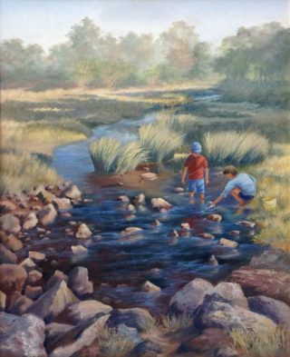 An Oil painting by Maureen Bainbridge in the Realist style  depicting River Children and Rocks with main colour being Blue and Olive and titled Catching Tadpoles