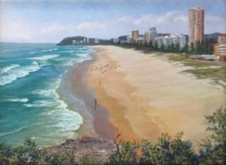 An Oil painting by Maureen Bainbridge in the Realist style  depicting Beach Buildings and Water with main colour being Blue Green and Grey and titled Burleigh Beach