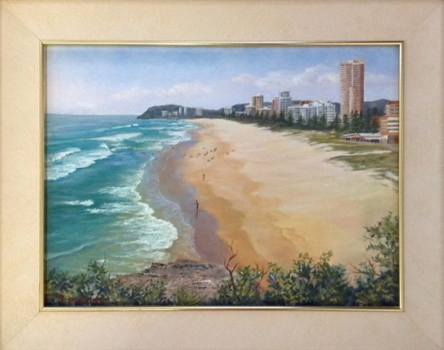 Oil Painting by Maureen Bainbridge titled Burleigh Beach