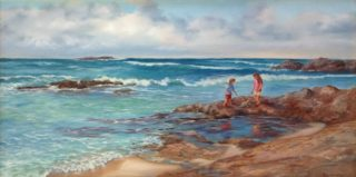 An Oil painting by Maureen Bainbridge in the Realist style  depicting Beach with main colour being Blue Brown and Grey and titled Beach Exploring