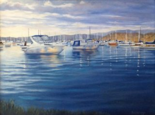 An Oil painting by Maureen Bainbridge in the Realist style  depicting Boats and Water with main colour being Blue and titled Morning Light - Lake Macquarie
