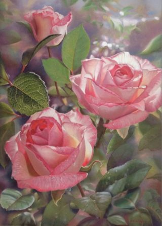 A Pastel painting by Maureen Bainbridge in the Realist style  depicting Flowers with main colour being Grey Olive and Pink and titled A Moment of Light