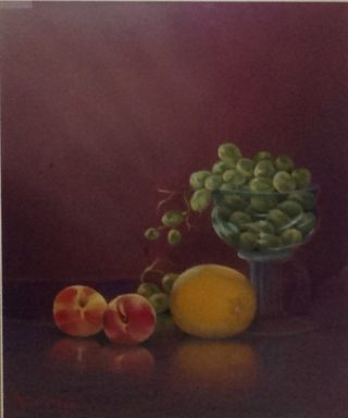 A Pastel painting by Maureen Bainbridge in the Realist style  depicting Still Life Fruit with main colour being Brown Green and Orange and titled Fruit Reflections