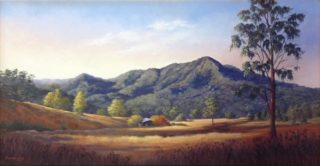 An Oil painting by Maureen Bainbridge in the Realist style  depicting Landscape Mountains Rural and Trees with main colour being Blue Brown and Olive and titled Afternoon Glow – Dorrigo