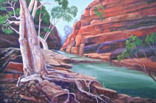 An Oil  painting  by Australian artist Moyra Le Blanc Smith in the Realist Impressionist style  depicting Landscape, Rocks, Trees and Water with main colour being Blue, Brown and Green and titled Hamersley Gorge
