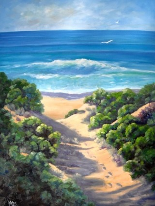 An Oil  painting  by Australian artist Moyra Le Blanc Smith in the Realist Impressionist style  depicting Seascape, Beach, Water and Waves with main colour being Blue, Green and Ochre and titled Beach Track