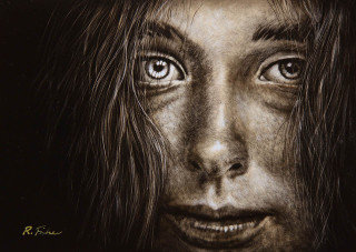 A Scratchboard painting by Rikki Fisher in the Realist style  depicting People Girl and Woman with main colour being Black Grey and White and titled Eye Speak