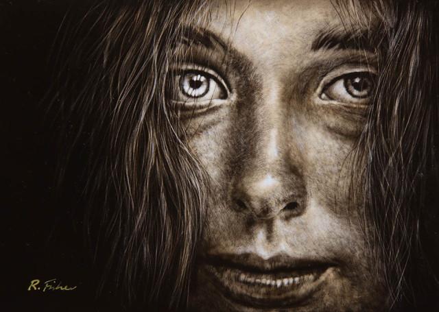 Scratchboard Painting by Rikki Fisher titled Eye Speak