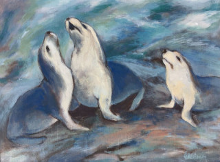 An Acrylic painting by EKATERINA MORTENSEN in the Realist style  depicting Animals Rocks and Water with main colour being Blue and White and titled SEA LIONS AT POINT LABATT 1