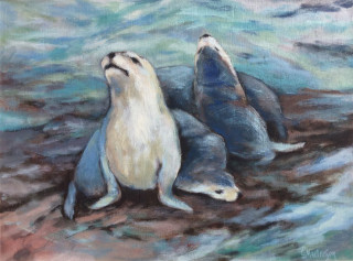 An Acrylic painting by Ekaterina Mortensen in the Realist style  depicting Animals Rocks and Water with main colour being Blue and White and titled SEA LIONS AT POINT LABATT 2